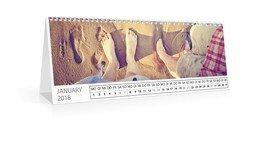 Monats-Tischkalender Quer - Weiß (297x105 Tischkalender)