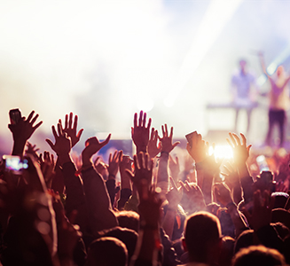 Feiernde Menschen auf Konzert