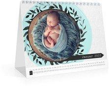 Monatskalender Blumenkranz - Weiß (170x140 Monats-Tischkalender)