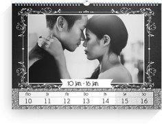 Wochenkalender Eingerahmt - Weiß (240x170 Wochen-Wandkalender Quer)