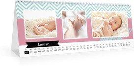 Monats-Tischkalender Kunterbunt - Weiß (297x105 Monats-Tischkalender)