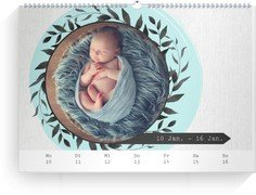 Wochenkalender Blumenkranz - Weiß (240x170 Wochen-Wandkalender Quer)