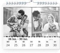 Wochen-Wandkalender Bordüre - Weiß (170x140 Wochen-Wandkalender Quer)