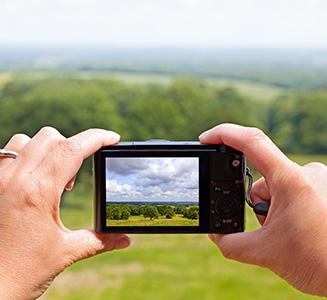 Hände halten Digitalkamera im Grünen