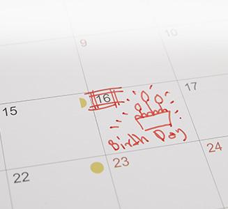 Kalender mit markiertem Geburtstag