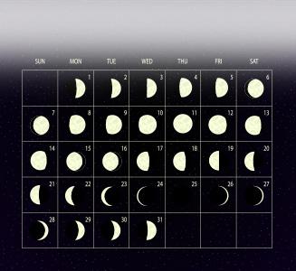 Mondkalender mit Mond auf Schwarz